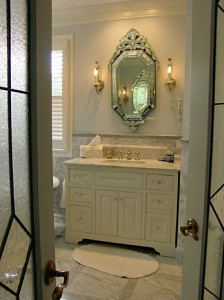 Carerra Marble, Venetian mirror & cabinets; entire bath built by Tom Scott